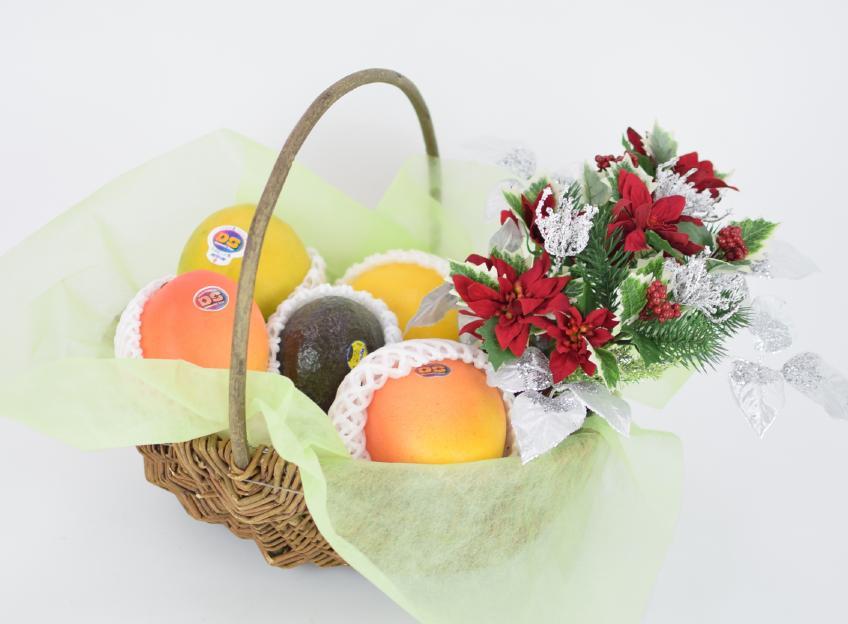 クリスマスギフト 花とフルーツ(S)