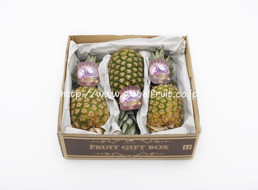 パイナップル3個入り箱内
