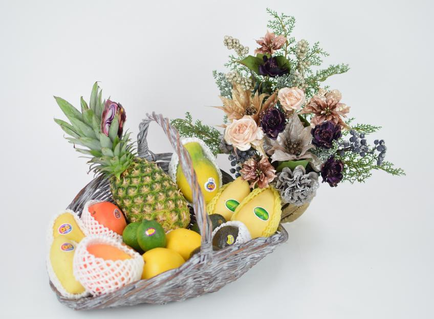 クリスマスギフト 花とフルーツ(L)