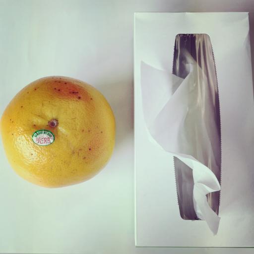グレープフルーツ × ティッシュ箱
