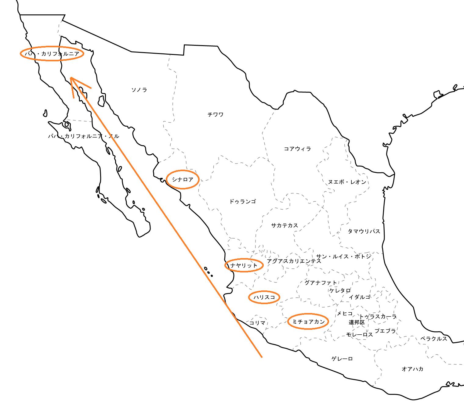 メキシコマンゴーの産地北上