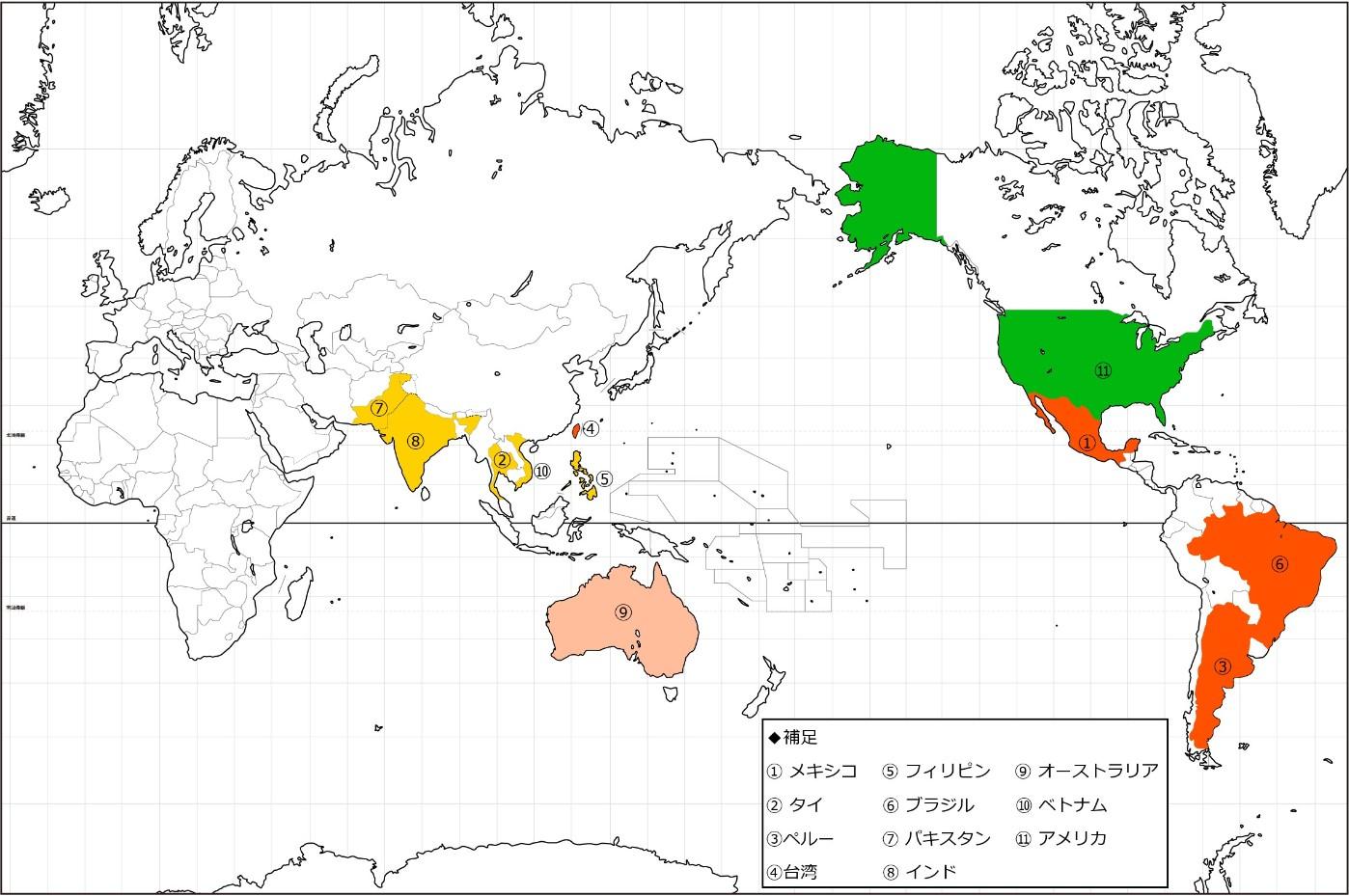 マンゴー色で地図に塗り絵